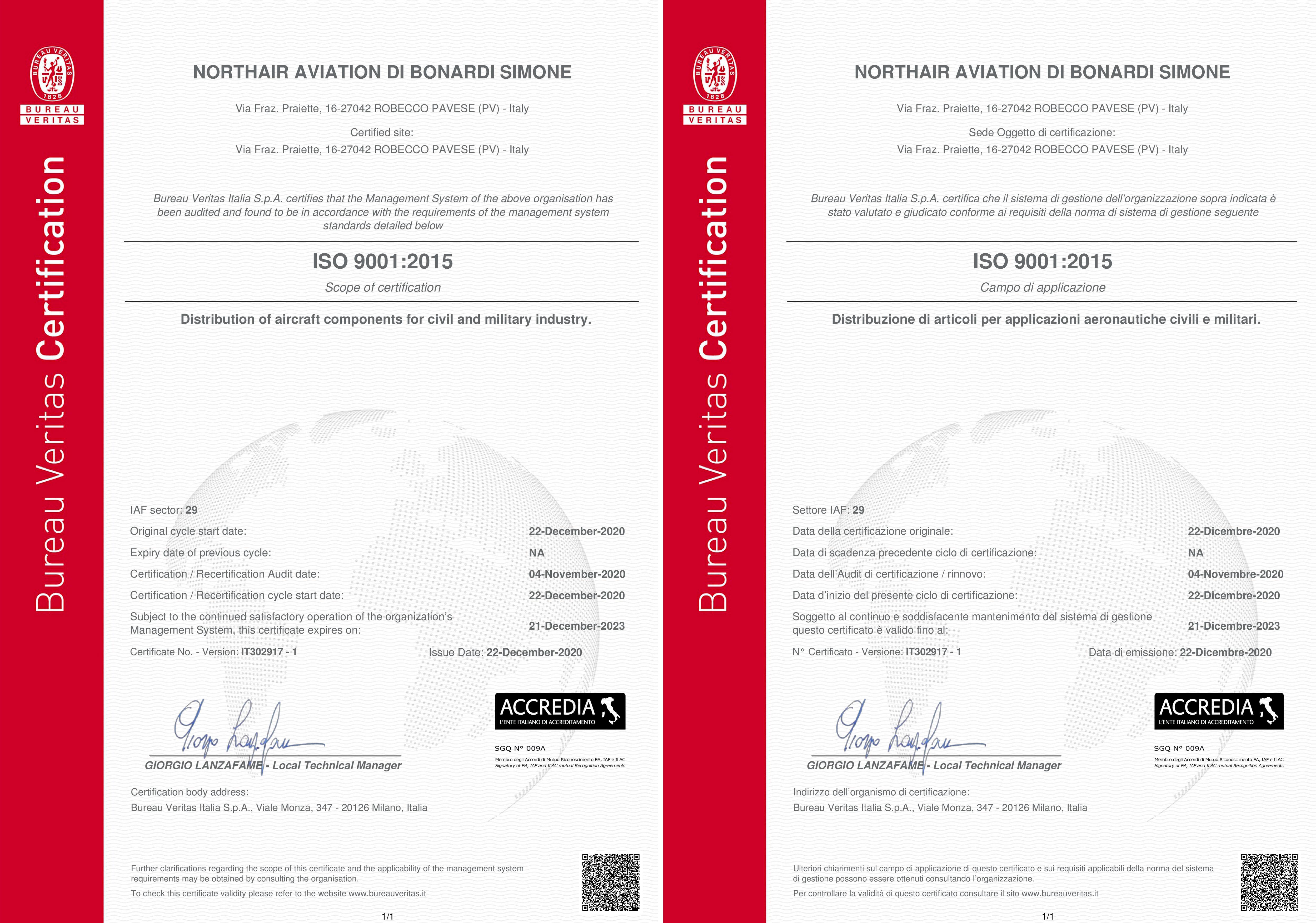 Certificato doppio