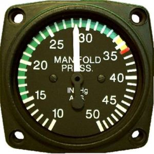 Indicatore MAP 57d, (Rotax 914), 10-50 hg, GA 10-35, YA 35-40, RR@ 40
