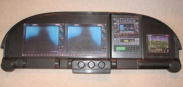 """RV-10 contropannello per cruscotto con EFIS 10 """" con console inferiore"""