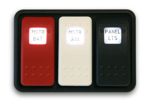 Switch DPST LED singolo on-none-on