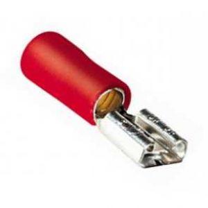 Faston femmina Sezione cavi: 22-18AWG, Colore: Rosso, Confezione da 10 pz