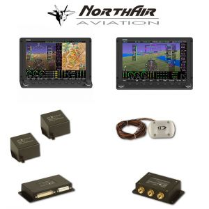 "Kit Skyview doppio monitor HDX 7"" con PFD ( parte volo ) + GPS + EMS ( parte motore ) , 2 batterie bkp, vis. sintetica"