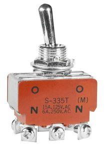 Interruttore On-Off ( momentaneo) bipolare a levetta, occhiello, DPDT, per circuito 912 IS di Start, 15A, 125VAC, 30VDC
