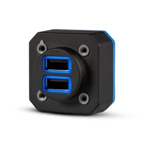 GSB 15  Dual USB Charger Type-A, Vertical, Rear Power Input, Standard (Connector on Back of Unit)